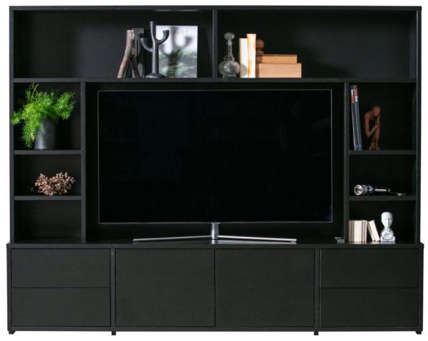 WOOOD Maxel Tv Wandmeubel Grenen Diep Zwart Black Kast