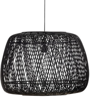 WOOOD Moza Hanglamp Bamboe Zwart 70x70cm Black Lamp