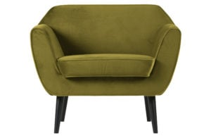 WOOOD Rocco Fauteuil Fluweel Olive Olive green Bank