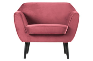 WOOOD Rocco Fauteuil Fluweel Pink Pink Bank
