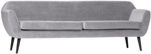 WOOOD Rocco Xl Sofa 230cm Fluweel Lichtgrijs Light grey Bank