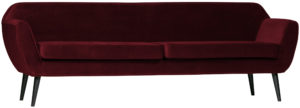 WOOOD Rocco Xl Sofa 230cm Fluweel Red Red Bank