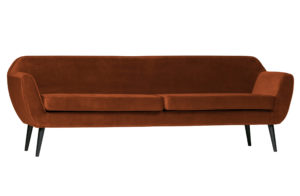 WOOOD Rocco Xl Sofa 230cm Fluweel Roest Rust Bank