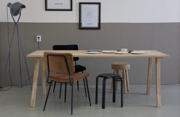 WOOOD Set V 2 - Tablo A-poot Eiken Transparant Eettafel