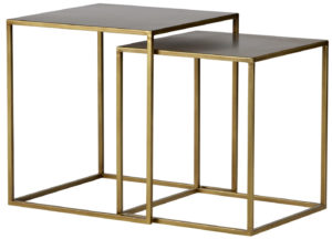 WOOOD Set V 2 - Ziva Bijzettafels Metaal Antique Brass Antique brass Eettafel