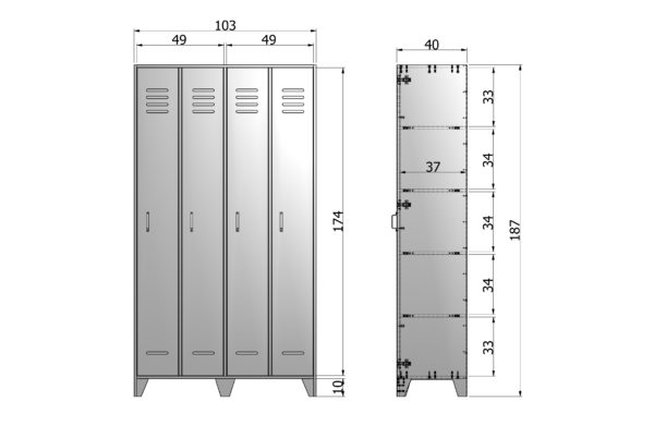 WOOOD Stijn Hoog 2drs Lockerkast Steel Grey Steel grey Kast