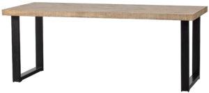 WOOOD Tablo Tafel Mango Visgraat 200x90 U-poot White wash Eettafel