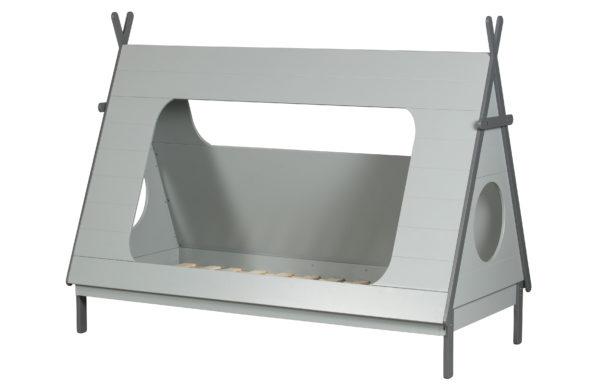 WOOOD Tipi Bed Betongrijs 90x200 Incl Lattenbodem Concrete grey Ledikant