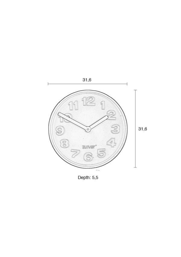 Zuiver Clock Concrete Time Orange  Klok