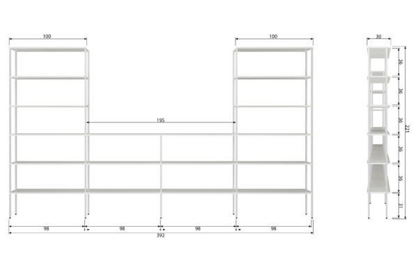 vtwonen Set V 2 - Rack Uprights High Outer Metaal Wit White Woonaccessoire