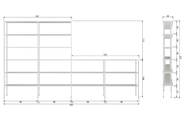 vtwonen Set V 2 - Rack Uprights Low Middle Metaal Wit White Woonaccessoire