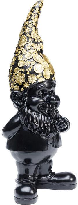 Beeld Figurine Gnome Standing Black Gold 46cm Kare Design Beeld 52947
