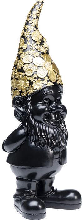 Beeld Figurine Gnome Standing Black Gold 61cm Kare Design Beeld 52949