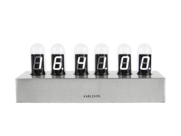 Table Clock Cathode Brushed - Steel Karlsson Klok KA4208