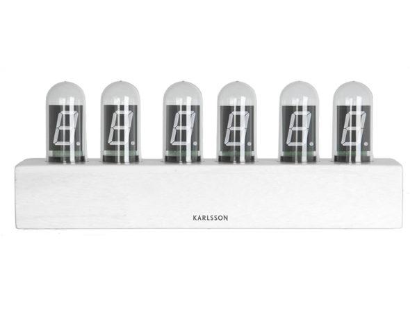 Table Clock Cathode Oak - White Karlsson Klok KA4205