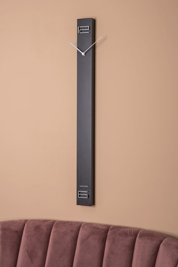 Wall Clock Discreet Long - Black Karlsson Klok KA5780BK