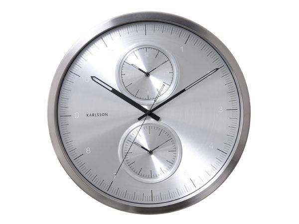 Wall Clock Multiple Time - Silver Karlsson Klok KA5508SI