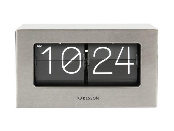 Wall / Table clock Boxed Flip - Brushed steel Karlsson Klok KA5620ST