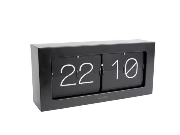 Wall / Table clock Boxed Flip XL - Black Karlsson Klok KA5642BK