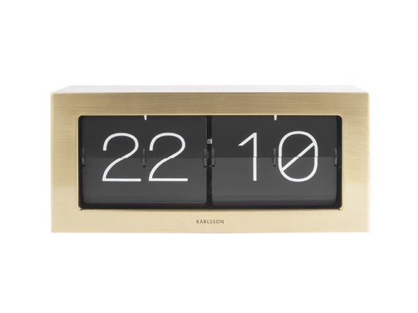 Wall / Table clock Boxed Flip XL - Brushed gold Karlsson Klok KA5642GD