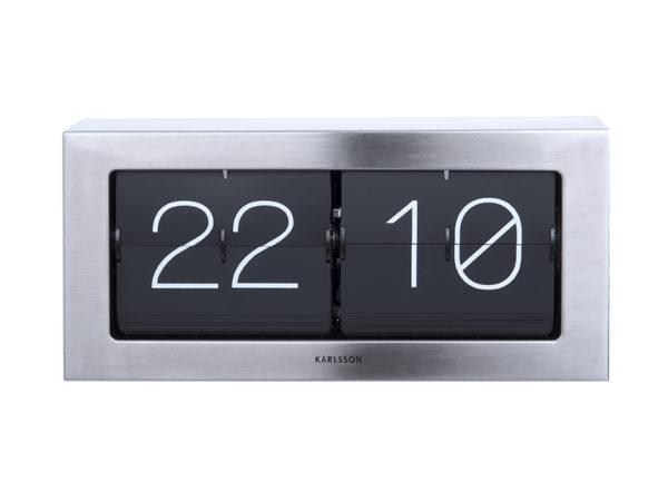 Wall / Table clock Boxed Flip XL - Brushed steel Karlsson Klok KA5642ST