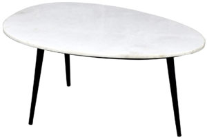 Livingfurn Salontafel Organic Marble White black 70cm  Salontafel