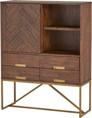 Barkast met 1 schuifdeur, 4 lades en 2 open vakken - Mobili D'oro Collezione Nijwie Barkast MDC.CB.0003
