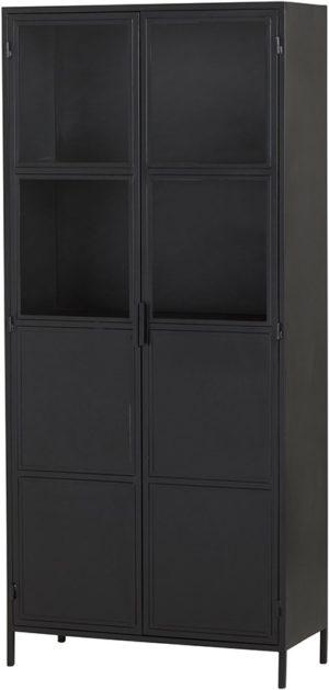 Vitrinekast big 90 met 2 deuren - Black Metal Collection Nijwie Vitrinekast BMC.VI.0008