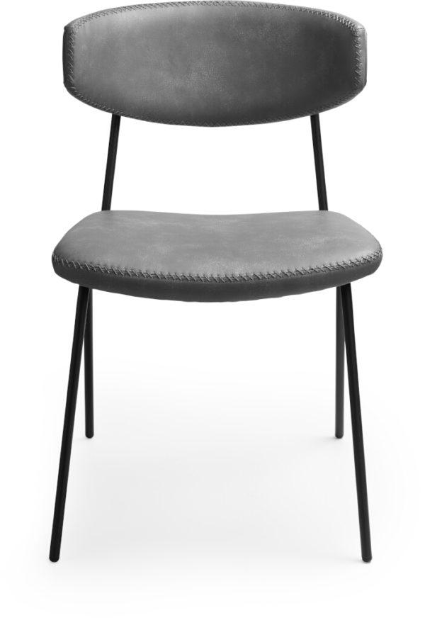 Bing eetkamerstoel grijs, modern retro design uitgevoerd in soepel en onderhoudsvriendelijk kunstleder voorzien van stijlvol kruisstiksel. Uit onze Feelings eetkamerstoelen collectie. Uitgevoerd in kunstleder Pu 2089 antraciet. Afmeting: (bxdxh) 49x59x78 cm.