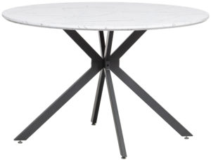 WOOOD Bruno Eettafel Rond Mdf Wit/zwart Marmeren Look Blad Ø120cm Black/white Eettafel