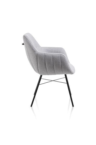 Xooon Liv armstoel - frame off black + 4-poots + greep - stof Ponti - ice grey  Armstoel