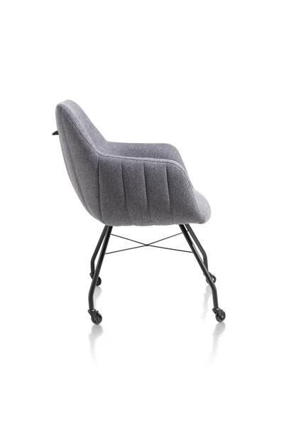 Xooon Liv armstoel - frame off black + met wielen + greep - stof Ponti - antraciet  Armstoel