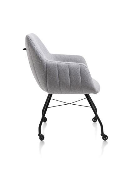 Xooon Liv armstoel - frame off black + met wielen + greep - stof Ponti - ice grey  Armstoel