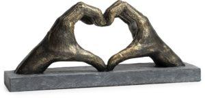 Feelings Hand met hart beeld Brons-grijs Woonaccessoire
