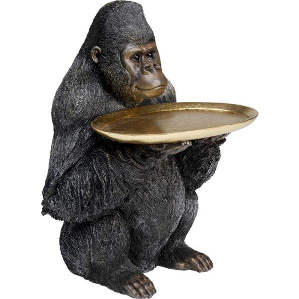 Beeld Figurine Gorilla Holding Tray Butler 44cm Kare Design Beeld 53625