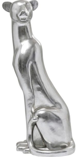 Beeld Figurine Sitting Leopard Silver 150cm Kare Design Beeld 53612