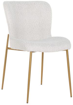 Richmond Interiors Stoel Odessa White Bouclé / Brushed Gold (Copenhagen 900 Bouclé White) Copenhagen 900 Bouclé White Eetkamerstoel