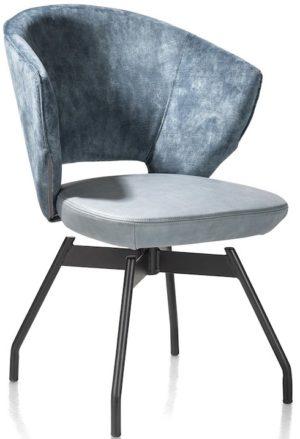 Xooon Zebu armstoel - draaibaar - metalen frame + pocket - combi Karese/Pala - blauw  Armstoel
