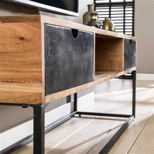 TV-meubel metal catch 2L - massief acacia naturel Bullcraft Tv-meubel Tv-dressoir 2492/15