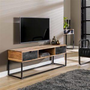 TV-meubel metal catch 2L - massief acacia naturel Bullcraft Tv-meubel|Tv-dressoir 2492/15