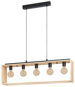 Hanglamp famborough 5li e27 l1000 hout/zwart - zwart - natuur Eglo Hanglamp 43414-EGLO