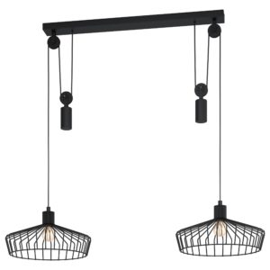 Hanglamp winkworth 2li e27 d380 katrol draad/zwa - zwart Eglo Hanglamp 43438-EGLO