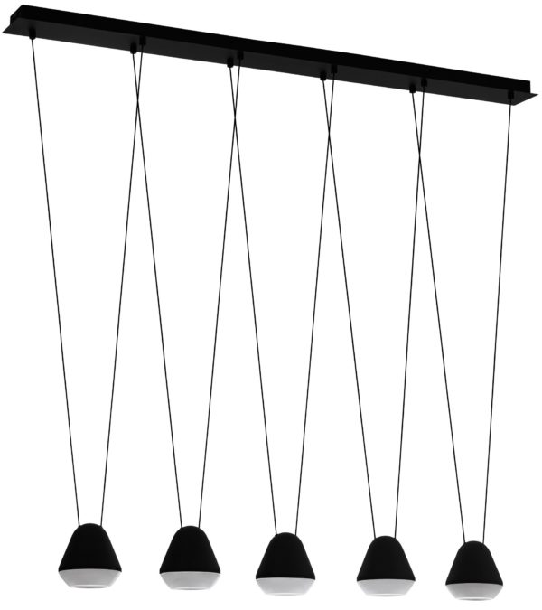 Led hanglamp palbieta 5li 3w-gu10 l1160 zwart/wit - zwart Eglo Hanglamp 99013-EGLO