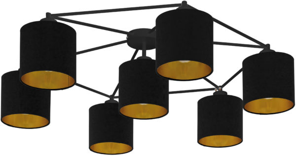 Plafondlamp staiti 7li e27 zw/kap zw-goud - zwart Eglo Plafondlamp 97895-EGLO