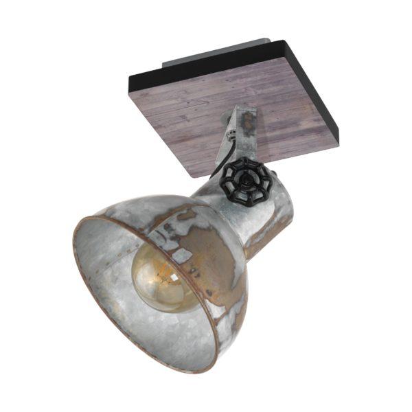 Spot barnstaple 1li e27 hout/zink - bruin-patina - zwart Eglo Spot 49648-EGLO