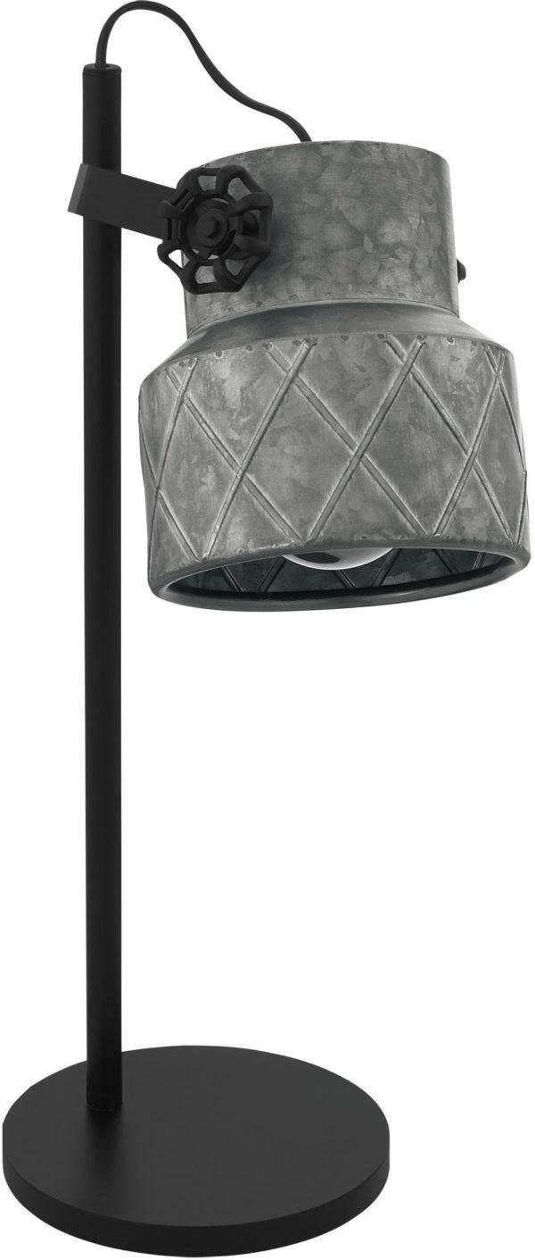 Tafellamp hilcott e27 h480 zink/zwart - zwart Eglo Tafellamp 39857-EGLO