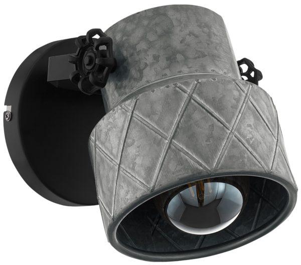 Wandlamp hilcott e27 zink/zwart - zwart Eglo Wandlamp 39868-EGLO