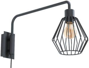 Wandlamp tabillano1 e27 zwart/draad - zwart Eglo Wandlamp 99349-EGLO