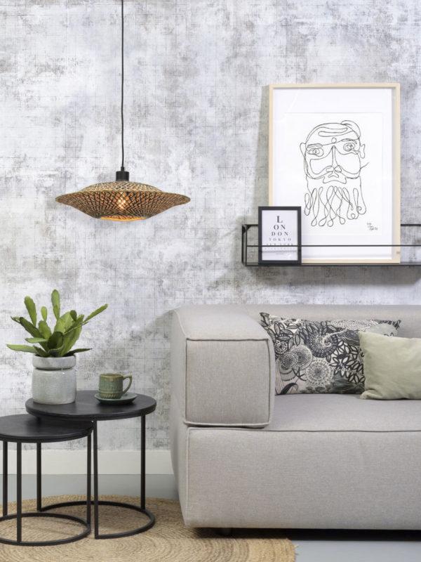 Hanglamp Bali bamboe horiz. 44x12cm zwart/naturel, S Good & Mojo Hanglamp BALI/H/4412/BN