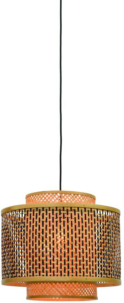 Hanglamp Bhutan bamboe dia.40x34cm zw./nat. S Good & Mojo Hanglamp BHUTAN/H/4034/BN